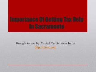 Importance Of Getting Tax Help In Sacramento