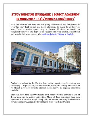 Study Medicine in Ukraine | Direct Admission in MBBS 2015| Kyiv Medical University