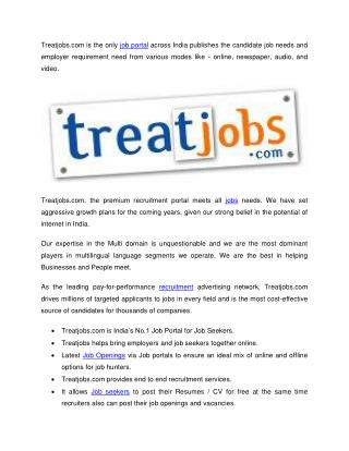 Job openings in chennai - Freshers walkins in chennai @ Treatjobs.com