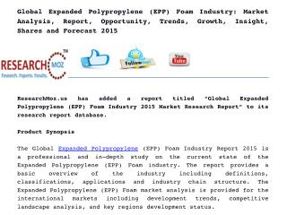Global Expanded Polypropylene (EPP) Foam Industry: Market Analysis, Report, Opportunity, Trends, Growth, Insight, Shares