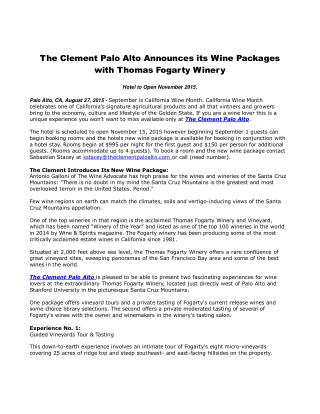 The Clement Palo Alto Announces its Wine Packages with Thomas Fogarty Winery