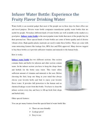 Infuser Water Bottle: Experience the Fruity Flavor Drinking Water