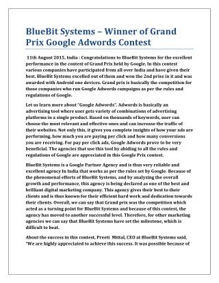 BlueBit Systems – Winner of Grand Prix Google Adwords Contest