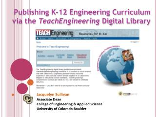 Publishing K-12 Engineering Curriculum  via the  TeachEngineering  Digital Library