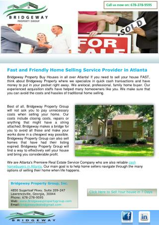 Fast and Friendly Home Selling Service Provider in Atlanta