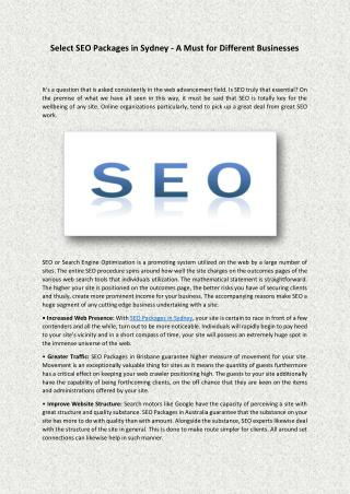 Select SEO Packages in Sydney - A Must for Different Businesses