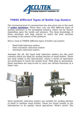THREE Different Types of Bottle Cap Sealers