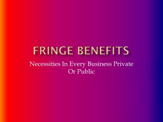 Fringe Benefits: Necessities In Every Business Private Or Public
