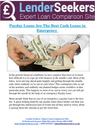Payday Loans Are The Best Cash Loans in  Emergency