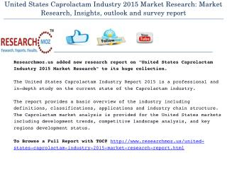 United States Caprolactam Industry 2015 Market Research