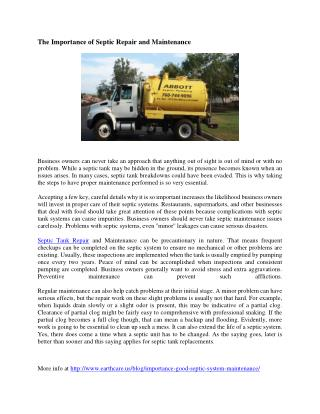 Septic Repair and Maintenance Importance