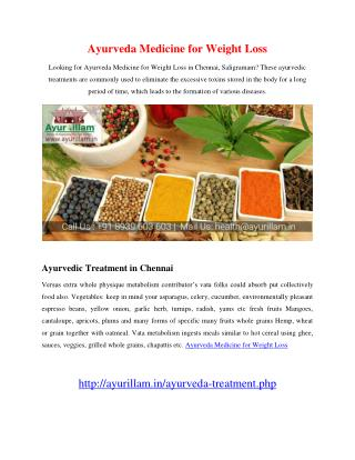 Ayurveda Medicine for Weight Loss