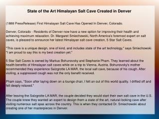 State of the Art Himalayan Salt Cave Created in Denver