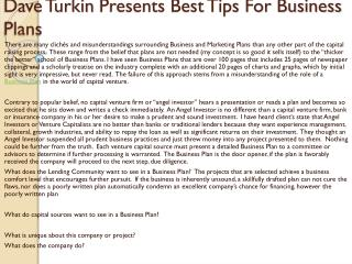 Dave Turkin Presents Best Tips For Business Plans