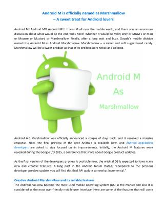 Android M is officially named as Marshmallow – A sweet treat for Android lovers