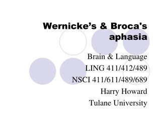 Wernicke's & Broca's aphasia