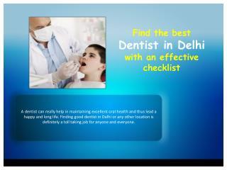 Find the best dentist in Delhi with an effective checklist
