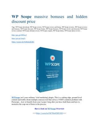 WP Scope review & WP Scope(Free) $26,700 bonuses