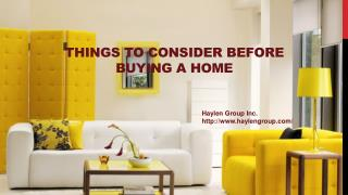 Things to Consider Before Buying a Home