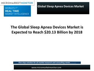 The Global Sleep Apnea Devices Market is Expected to Reach $20.13 Billion by 2018