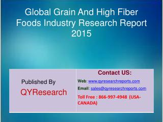 Global Grain And High Fiber Foods Market Research 2015 Industry  Share, Overview, Analysis, Growth, Demands, Research an