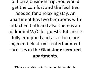 What Gladstone serviced apartments have to offer to travelers?