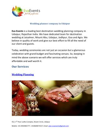 Wedding planner company in Udaipur