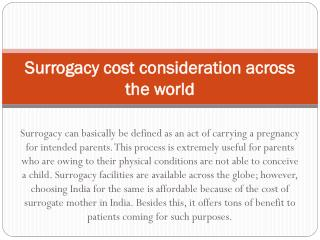 Surrogacy cost consideration across the world