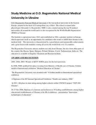 Study MBBS at Bogomolets National Medical University in Ukraine