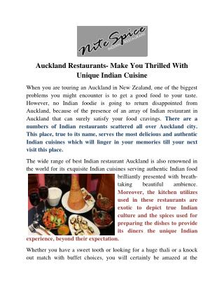 Auckland Restaurants- Make You Thrilled With Unique Indian Cuisine