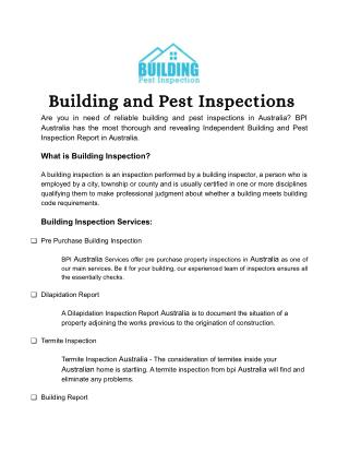 Building and Pest Inspection Service Australia