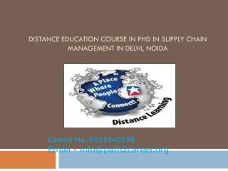 Distance Education Course In Ph.D In Supply Chain Management In Delhi, Noida @8527271018