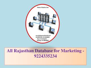 All Rajasthan Database for Marketing -9224335234
