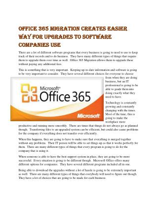 Office 365 Migration Creates Easier Way for Upgrades to Software Companies Use