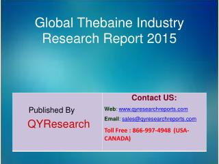 Global Thebaine Market 2015 Industry Shares, Forecasts, Analysis, Applications, Trends, Development, Growth, Overview an