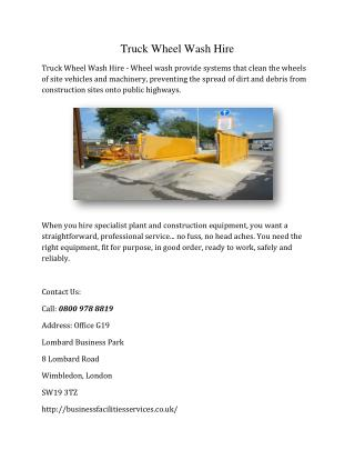 Truck Wheel Wash Hire