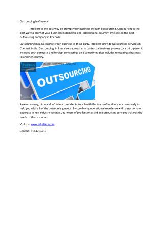 Outsourcing in chennai