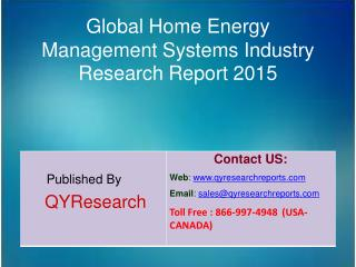 Global Home Energy Management Systems Market 2015 Industry Demands, Share, Forecast, Research, Trends, Analysis and Grow