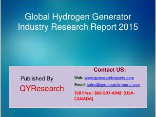 Global Hydrogen Generator Market 2015 Industry Growth, Analysis, Research and Development