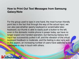 How to Print Off Text Messages from Samsung Galaxy S2/S3/S4/Note