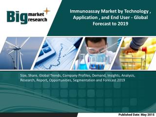 The immunoassay market is expected to reach $23,712.4 million by 2019 from $14,926.3 million in 2014, at a CAGR of 9.7%
