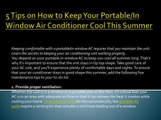 5 Tips on How to Keep Your Portable/In Window Air Conditioner Cool This Summer