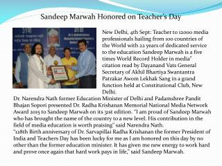 Sandeep Marwah Honored on Teacher's Day