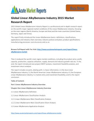 Global Linear Alkylbenzene Industry to 2020 Market - Global Industry analysis, Growth and Forecast,- Acute Market Report