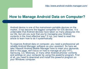 How to Manage Android Data on Computer?