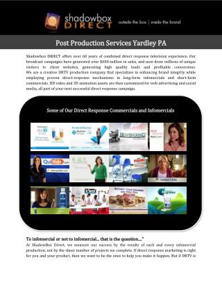 Post Production Services Yardley PA