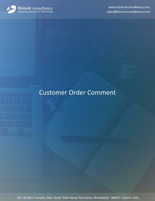 Odoo Customer Order Comment Apps
