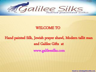 Modern Tallit and Jewish prayer shawl Hand Painted for men at Galilee Silks