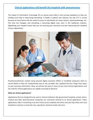 Benefits of Clinical Applications