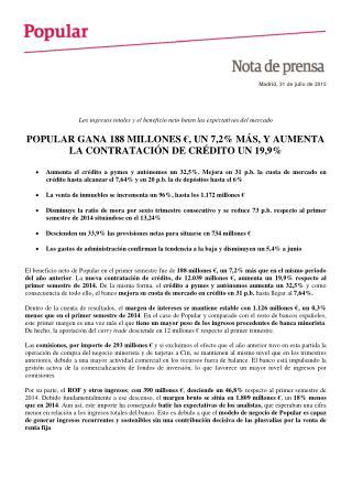 Popular gana 188 millones de euros, un 7,2% más